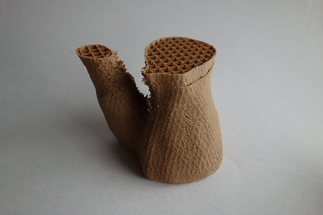 Segment of furniture made from 3D-printed fungus