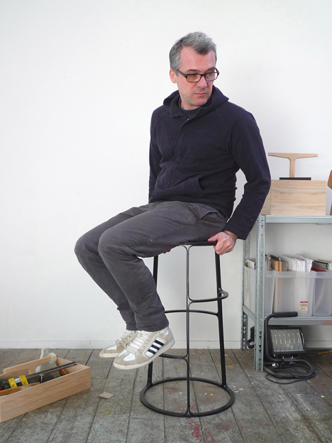 Bar stool by Aurélien Barbry features multiple footrests to fit any user