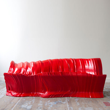 Cutting Edge sofa by Martijn Rigters cut from block of foam using hot wires