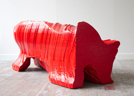 Cutting Edge sofa by Martijn Rigters cut from huge block of foam using hot wires