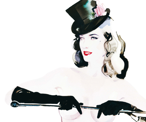 Dita von Tease in A Magazine Curated By Stephan Jones, illustrated by David Downton