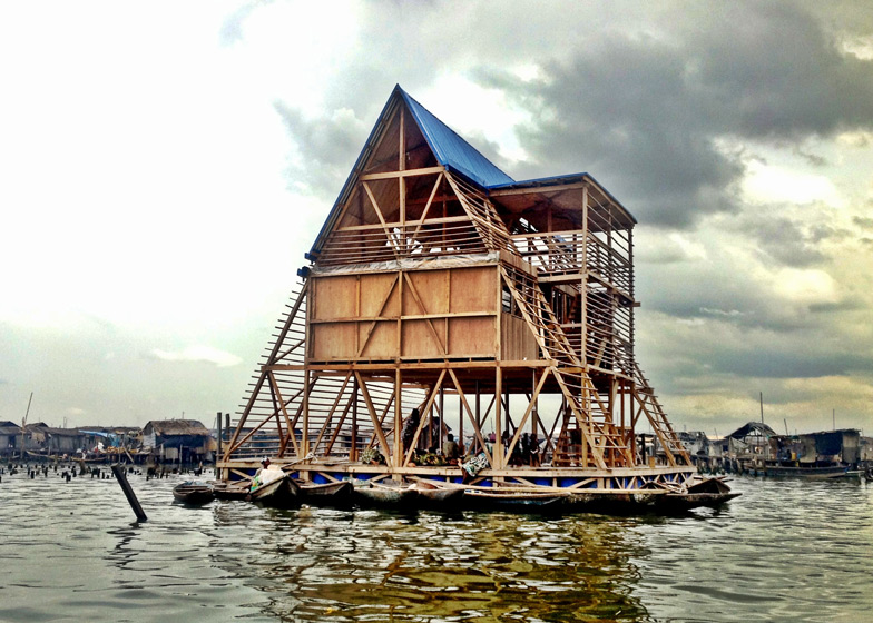 Makoko Floating School designed by NLÉ, Makoko Community Building Team. Photograph by NLÉ
