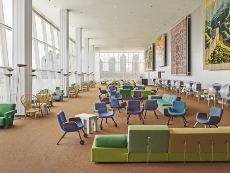 New interior for United Nations North Delegates' Lounge in New York designed by Hella Jongerius, together with Rem Koolhaas, Irma Boom, Gabriel Lester and Louise Schouwenberg. Photograph by Frank Oudeman