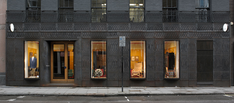 Facade for Paul Smith, Albemarle Street, Mayfair, London, designed by 6a Architects. Photograph by 6a Architects