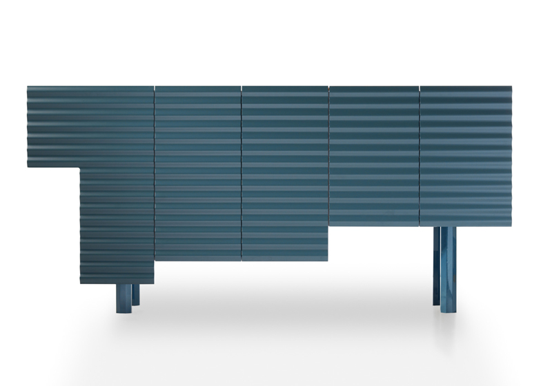Storage cabinet by Doshi Levien mimics the eclectic materials found in improvised shanty dwellings
