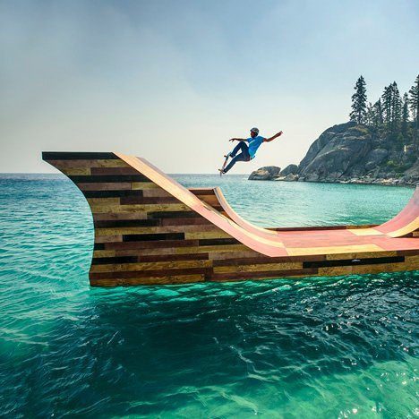 Floating skateboard ramp on Lake Tahoe by Jeff Blohm and Jeff King