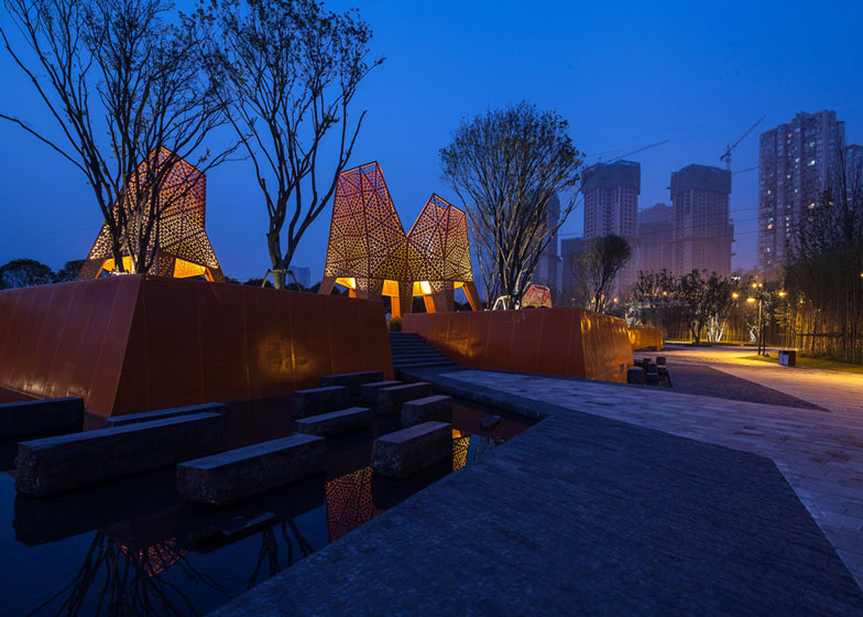 Perforated metal pavilions by Martha Schwartz Partners rise above Fengming Mountain Park