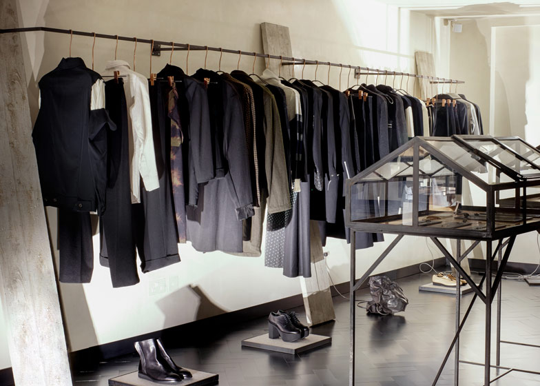 Industrial materials used to furnish Hostem womenswear interior by JamesPlumb