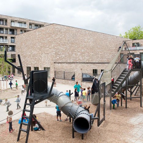 Studio Makkink & Bey adds industrial playground to Mecanoo's Reimerswaalhof housing