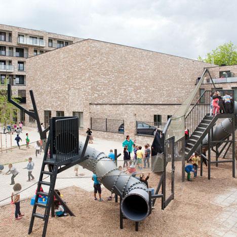 Studio Makkink & Bey adds industrial playground to Mecanoo's Reimerswaalhof housing