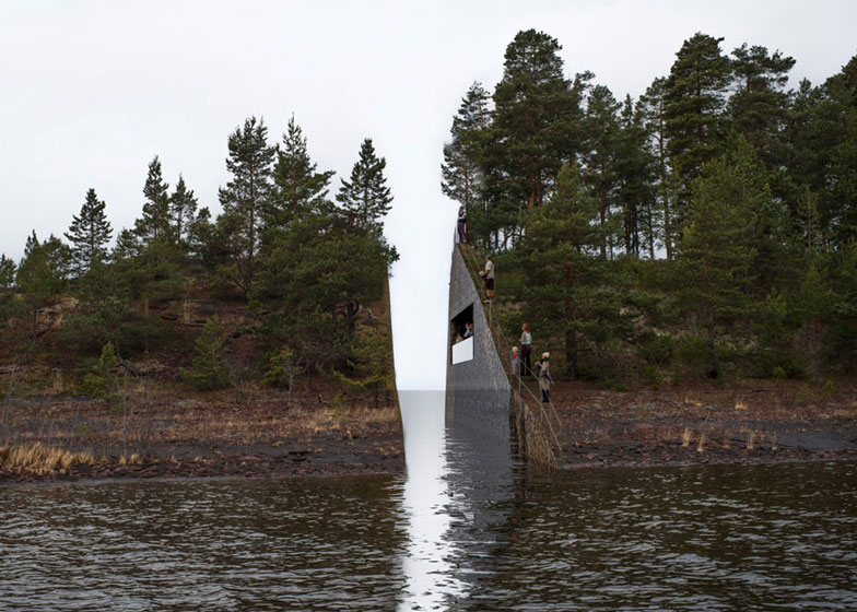 Landscape intervention by Jonas Dahlberg to honour Norwegian terrorist attack victims