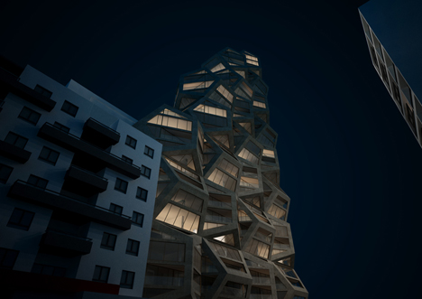 Tammo Prinz's modular skyscraper concept celebrates five-sided surfaces