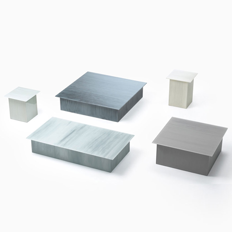 Nendo patterns glass furniture for Glas Italia with brush strokes