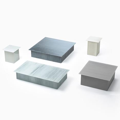 Nendo patterns glass furniture for Glas Italia with brush strokes