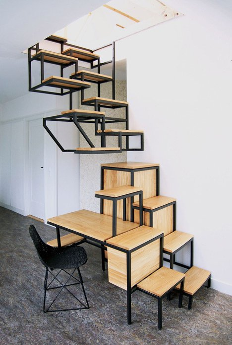 Suspended Staircase Combined With Desk And Storage By Mieke ...