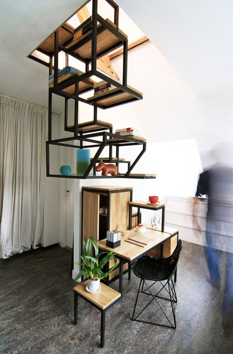 Amazing Suspended Staircase Combined With Desk And Storage By Mieke Beatyapartments Chair Design Images Beatyapartmentscom