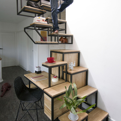 Suspended staircase combined with desk and storage space by Mieke Meijer