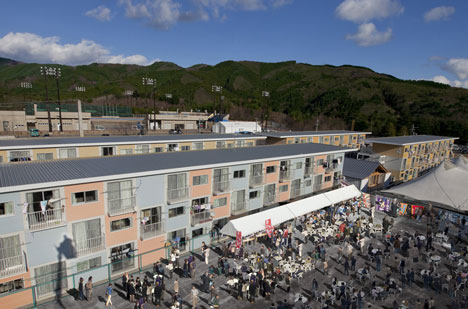 Onagawa temporary container housing by Shigeru Ban