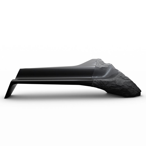 Ancient volcanic rock and carbon fibre spliced together in Onyx sofa by Peugeot Design Lab