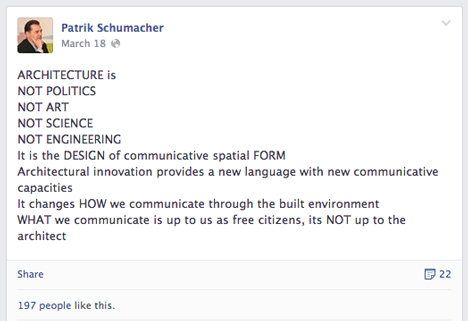 Patrik Schumacher facebook post