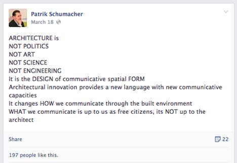 Patrik Schumacher facebook post