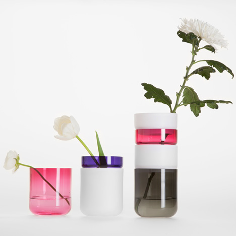 Glass rings stack to form Pi-no Pi-no vases by Maija Puoskari