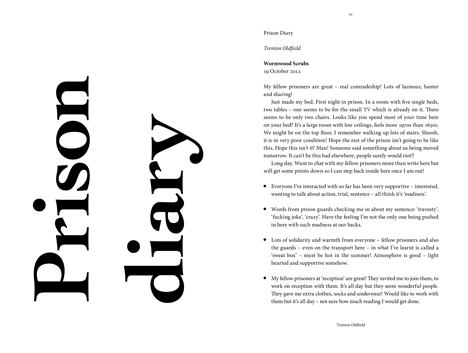 Competition: five copies of Trenton Oldfield's prison diary to be won