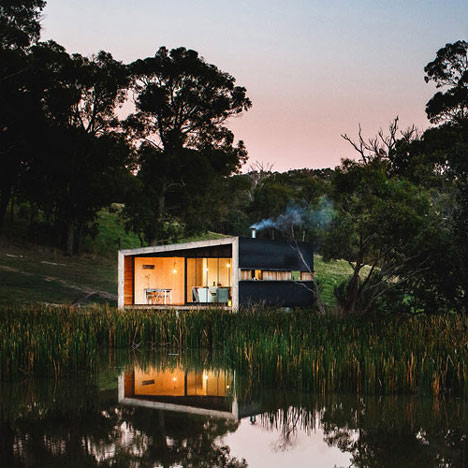 Pump House by Branch Studio Architects is a metal-clad lakeside retreat