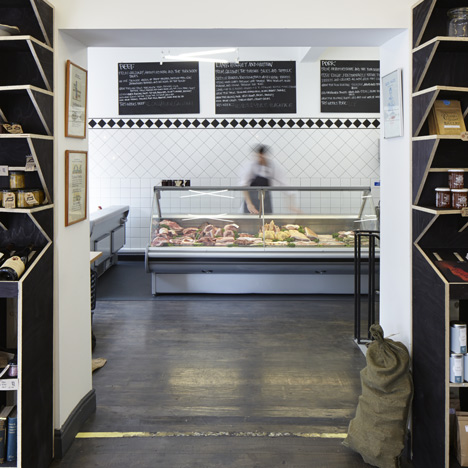 Quality Chop Shop butcher by Fraher Architects references food crates and packaging