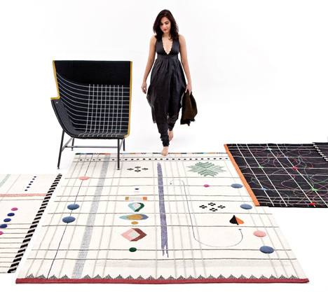 Handmade rugs designed by Doshi Levien pay homage to tribal Indian folk embroidery