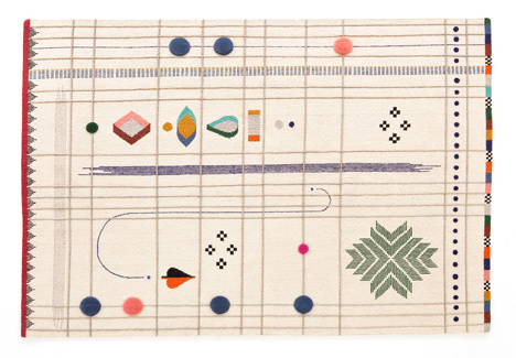 Handmade rugs designed by Doshi Levien pay homage to tribal Indian folk embroidery Handmade rugs designed by Doshi Levien pay homage to tribal Indian folk embroidery