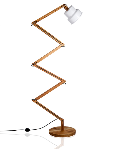 Haim Evgi crafts wooden balanced-arm TZAP lamps