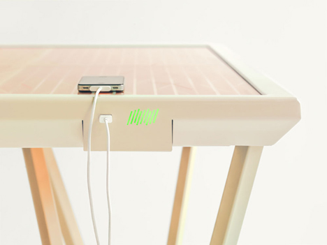 The Current Table by Marjan van Aubel features a solar panel for charging mobile phones