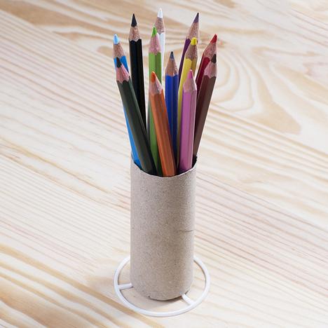 Toilet paper tube converted into 3D-printed pen holder by Aleksandar Dimitrov
