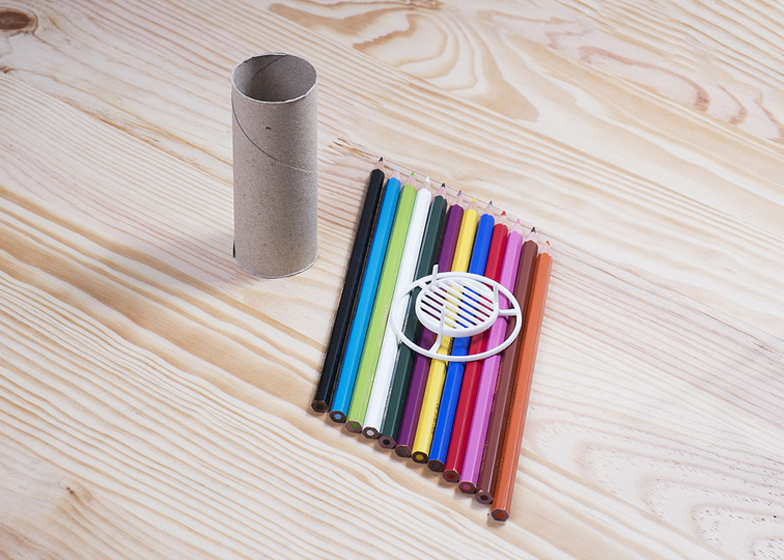 Toilet paper tube converted into 3D-printed pen holder by Aleksandar Dimitrov