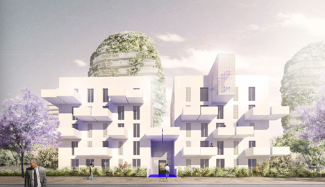 Walls of foliage will surround the towers of Gardens of Anfa by Maison Edouard Francois