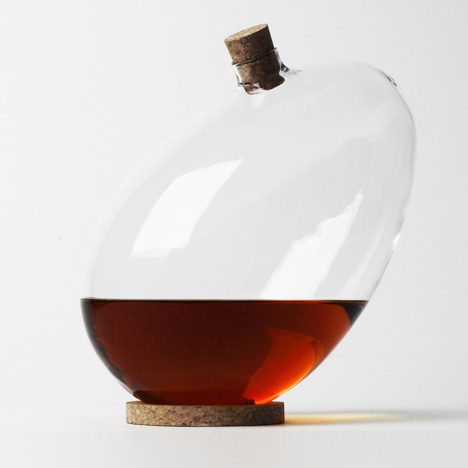 Sebastian Bergne says bottoms up with tilting egg-shaped decanter