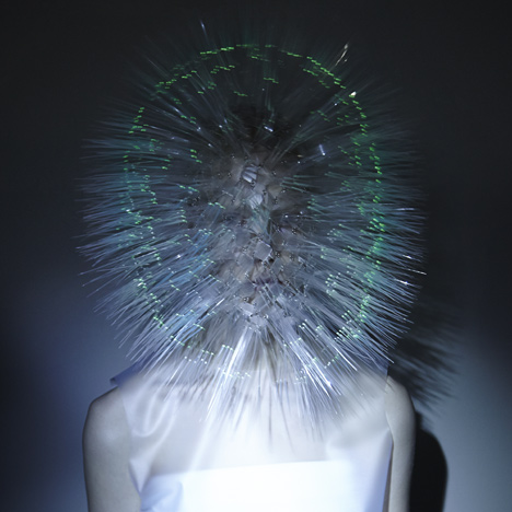 Prickly headdresses by Maiko Takeda now glow in the dark