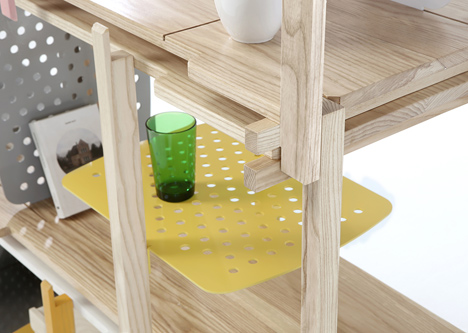 Stackle modular shelving system designed by THINKK Studio