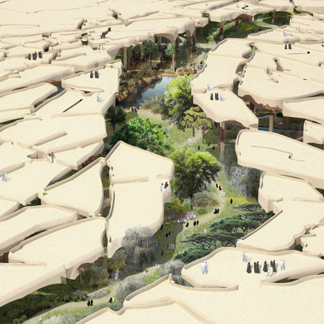 "Thomas Heatherwick unveils ""sunken oasis"" for A"