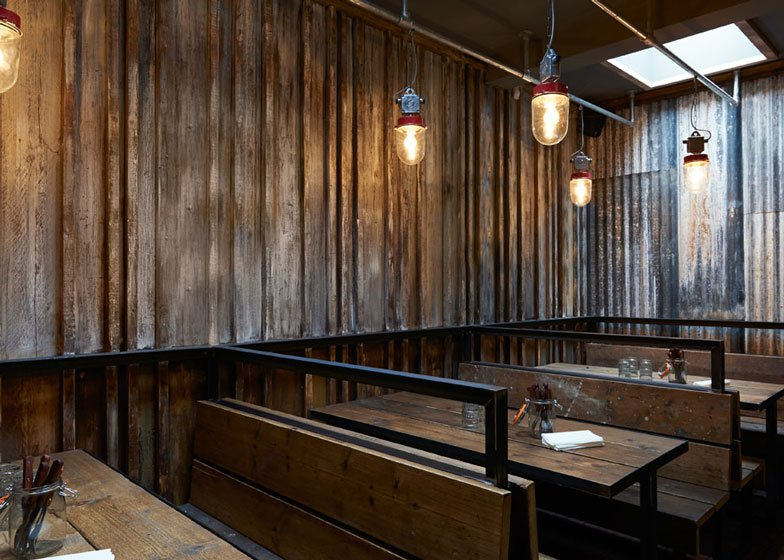London restaurant resembling a ramshackle farm building by Brinkworth