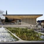 Wooden pavilion by Ramser Schmid Architekten built beside Swiss library