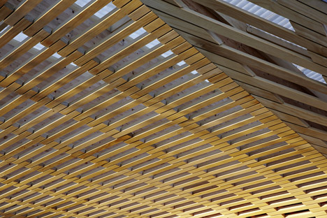 Wooden pavilion by Ramser Schmid Architekten built beside Swiss library