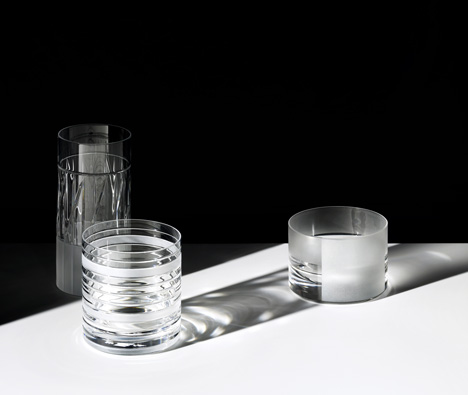 Scholten & Baijings cuts graphic patterns into glassware for J Hill's Standard
