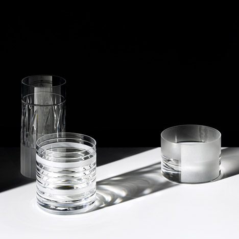 Scholten & Baijings cut graphic patterns into glassware for J Hill's Standard