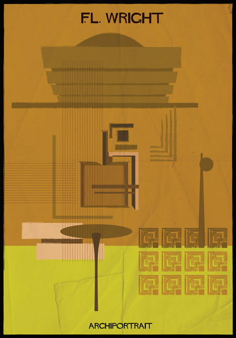 F.L. Wright Archiportrait by Federico Babina