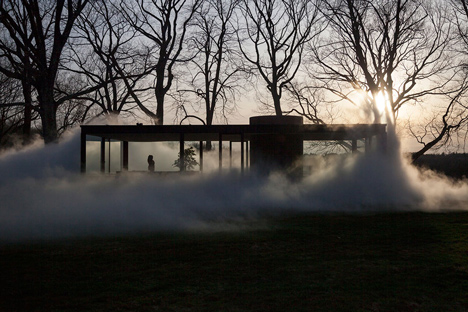 Veil by Fujiko Nakaya at the Glass House by Philip Johnson