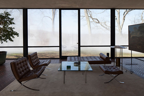 Veil by Fujiko Nakaya at the Glass House by Philip Johnson