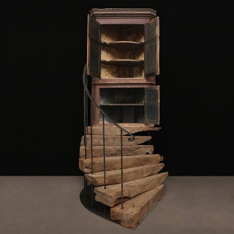"JamesPlumb ""marries"" antique cupboard and staircase for Milan exhibition"