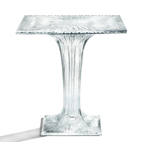 Plastic table by Tokujin Yoshioka for Kartell sparkles like crystal glass